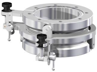 XY tilt device for +/- 5º angle adjustment. DN100CF tapped flanges