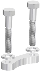 Silver plated hex head bolts with plate nuts and washers, DN100CF