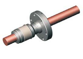 1 pin high voltage feedthrough 8000V / 135 Amp. Molybdenum conductor, DN19CF flange
