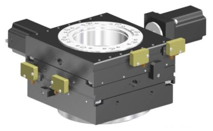 XY-table 2-phase stepper motor operated 12,5mm travel, DN100CF base and travel flange