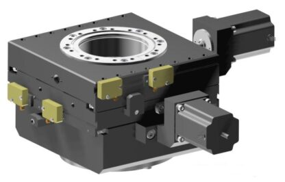 XY-table 2-phase stepper motor operated 25mm travel, DN100CF base and travel flange