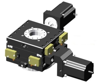 XY-table 2-phase stepper motor operated 12,5mm travel, DN63CF base flange DN40CF travel flange