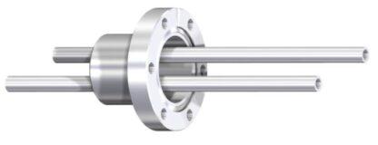 Dual liquid feedthrough thermalisolated 10mm OD tube, DN40CF