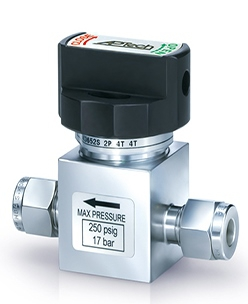 "Manual operated diaphragm valve with 3/8"" compression fitting"