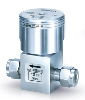 "Air operated diaphragm valve with 3/8"" compression fitting"