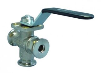 Manual operated 3-way ball valve Nickel plated Brass, DN50KF