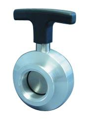 Manual operated butterfly valve DN50KF, stainless steel 316L