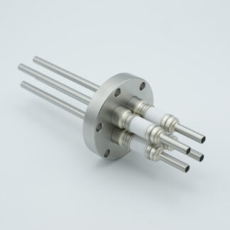 4 pin water cooled feedthrough 5000Volt DC / 93 Amp. Molybdenum conductor, DN40CF flange