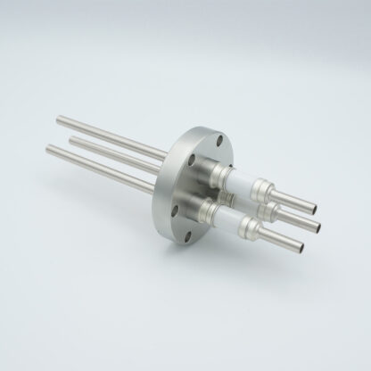 3 pin water cooled feedthrough 5000Volt DC / 93 Amp. Molybdenum conductor, DN40CF flange