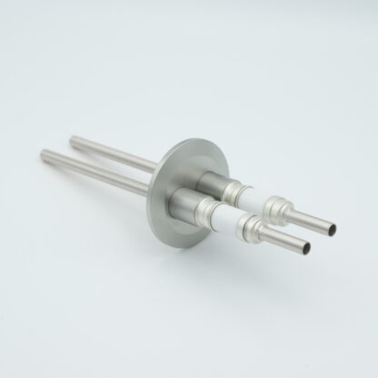 2 pin water cooled feedthrough 5000Volt DC / 93 Amp. Molybdenum conductor, DN40KF flange