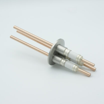 3 pin Copper conductor feedthrough 5000Volt DC, 180 Amp. DN50KF flange