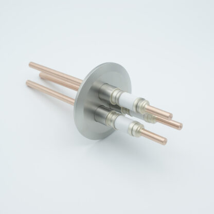 3 pin Nickel conductor feedthrough 5000Volt / 75 Amp. DN40KF flange