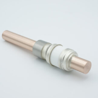 1 pin high voltage feedthrough 8000V / 300 Amp. Copper conductor, weld fitting