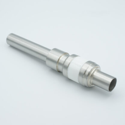 1 pin water cooled feedthrough 5000Volt DC / 90 Amp. Molybdenum conductor, weld fitting
