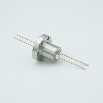 2 pin Molybdenum conductor feedthrough 1000Volt / 13 Amp. DN19CF flange