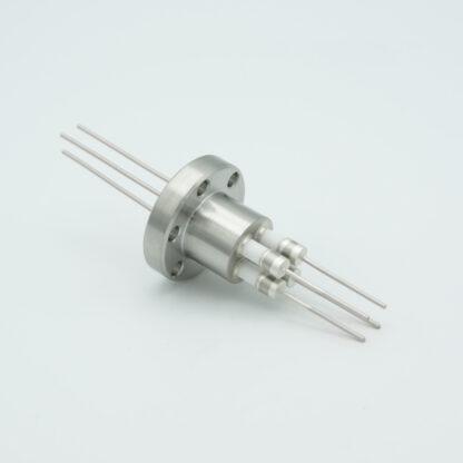 4 pin Molybdenum conductor feedthrough 5000Volt / 13 Amp. DN19CF flange