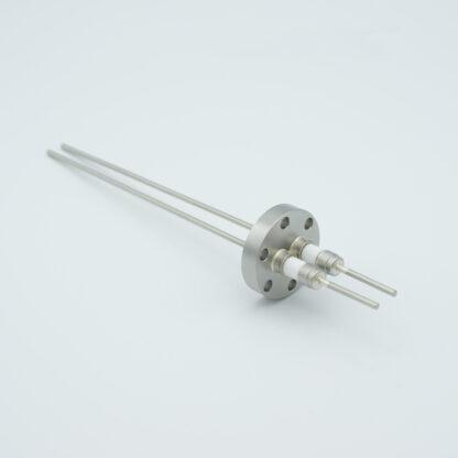2 pin Molybdenum conductor feedthrough 5000Volt / 28 Amp. DN19CF flange