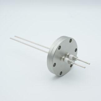 2 pin Molybdenum conductor feedthrough 5000Volt / 28 Amp. DN40CF flange