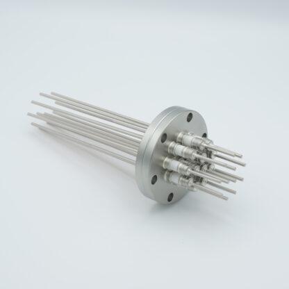12 pin Molybdenum conductor feedthrough 5000Volt / 28 Amp. DN40CF flange