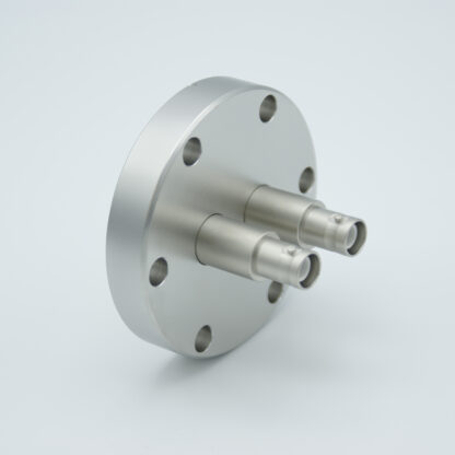 2 of grounded shield recessed SHV-5 Amp 5000 VDC feedthrough, air side connector included DN40CF