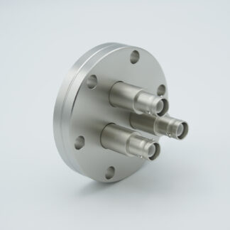 3 of grounded shield recessed SHV-5 Amp 5000 VDC feedthrough, air side connector included DN40CF