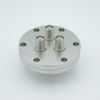 3 of grounded shield exposed SHV-5 Amp 5000 VDC feedthrough, air side connector included DN40CF