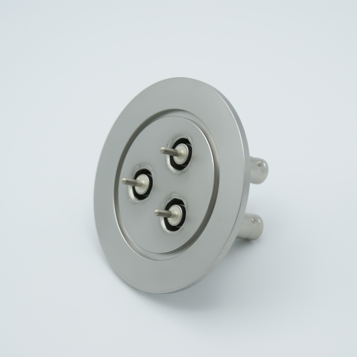 3 of grounded shield recessed SHV-5 Amp 5000 VDC feedthrough, air side connector included DN50KF