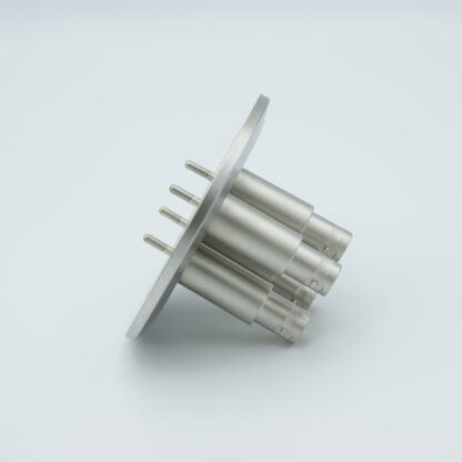 4 of grounded shield recessed SHV-5 Amp 5000 VDC feedthrough, air side connector included DN50KF