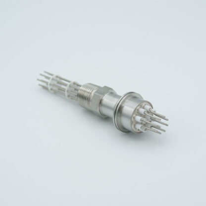 10 pin feedthrough 2000Volt / 10 Amp. Alumel conductor, NPT flange