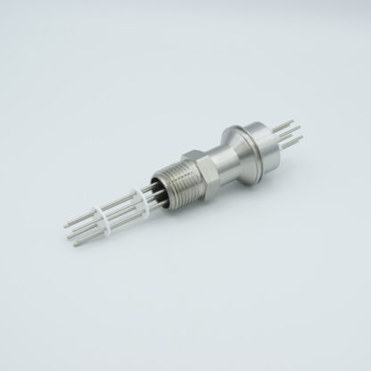 """3 pair Thermocouple type-J feedthrough for push on connectors, 1/2"""" NPT fitting"""
