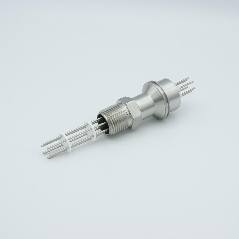6 pin feedthrough 2000Volt / 10 Amp. Alumel conductor, NPT flange