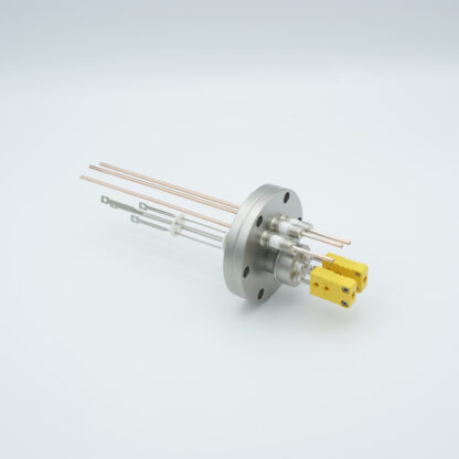 2 pair Thermocouple type-K and 3 copper power pins feedthrough 5000V, with TC connectors included, DN40CF flange