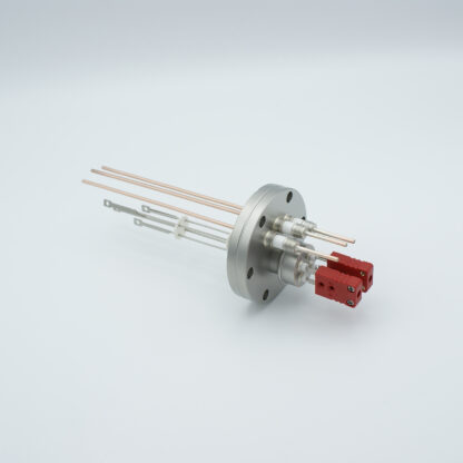 2 pair Thermocouple type-C and 3 copper power pins feedthrough 5000V, with TC connectors included, DN40CF flange