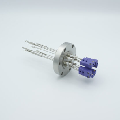4 pair Thermocouple type-E feedthrough with both side connectors included, DN40CF flange