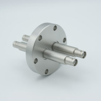 2 of grounded shield, double ended SHV-5 Amp 5000 VDC feedthrough, air side connector included DN40CF