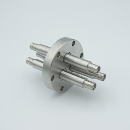 3 of grounded shield, double ended SHV-5 Amp 5000 VDC feedthrough, air side connector included DN40CF