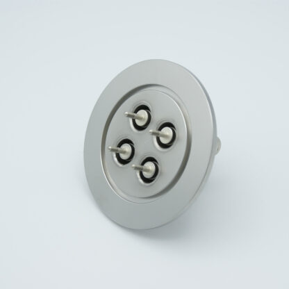 4 of grounded shield, single ended MHV feedthrough 5000V / 3 Amp, air side connector included, DN50KF flange