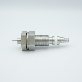 """Floating shield, single ended MHV feedthrough 5000V 3 Amp, 1"""" baseplate fitting without air side connector"""