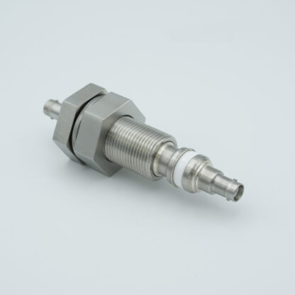 """Floating shield, double ended SHV-5 feedthrough 5000V 3 Amp, 1"""" baseplate fitting without air side connector"""