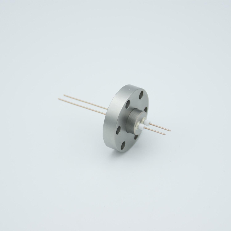 2 pin Nickel conductor feedthrough 500Volt / 2 Amp. DN19CF flange