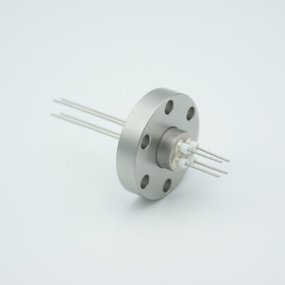 4 pin Stainless steel conductor feedthrough 500V / 1 Amp. DN19CF flange