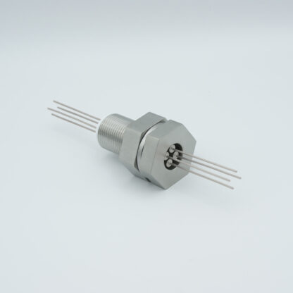 4 pin stainless steel conductor feedthrough 1000Volt / 1 Amp. base plate fitting