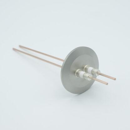 2 pin Nickel conductor feedthrough 5000Volt / 15 Amp. DN40KF flange