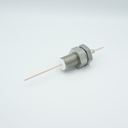 1 pin feedthrough 2000Volt / 3 Amp. Stainless steel conductor, base plate fitting