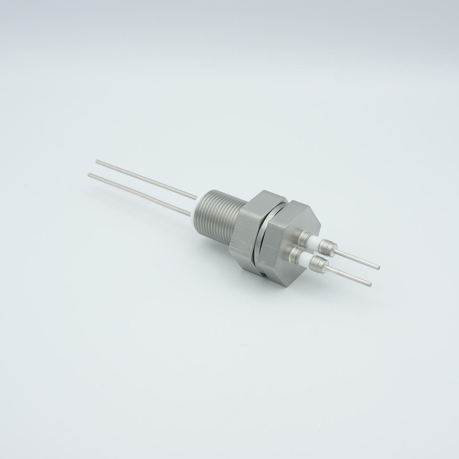 2 pins feedthrough 2000Volt / 3 Amp. Stainless steel conductor, base plate fitting