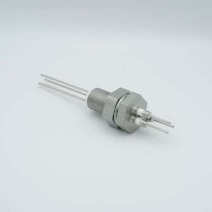 3 pins feedthrough 2000Volt / 3 Amp. Stainless steel conductor, base plate fitting
