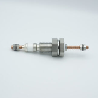 1 pin feedthrough 3000Volt / 250 Amp. Copper conductor, 1 inch base plate fitting