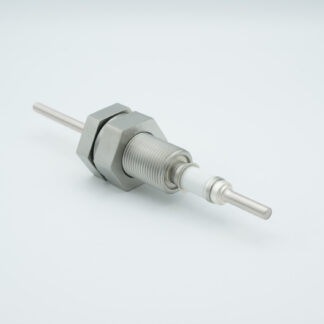 1 pin high voltage feedthrough 5000V / 7 Amp. Stainless steel conductor, 1 inch base plate fitting