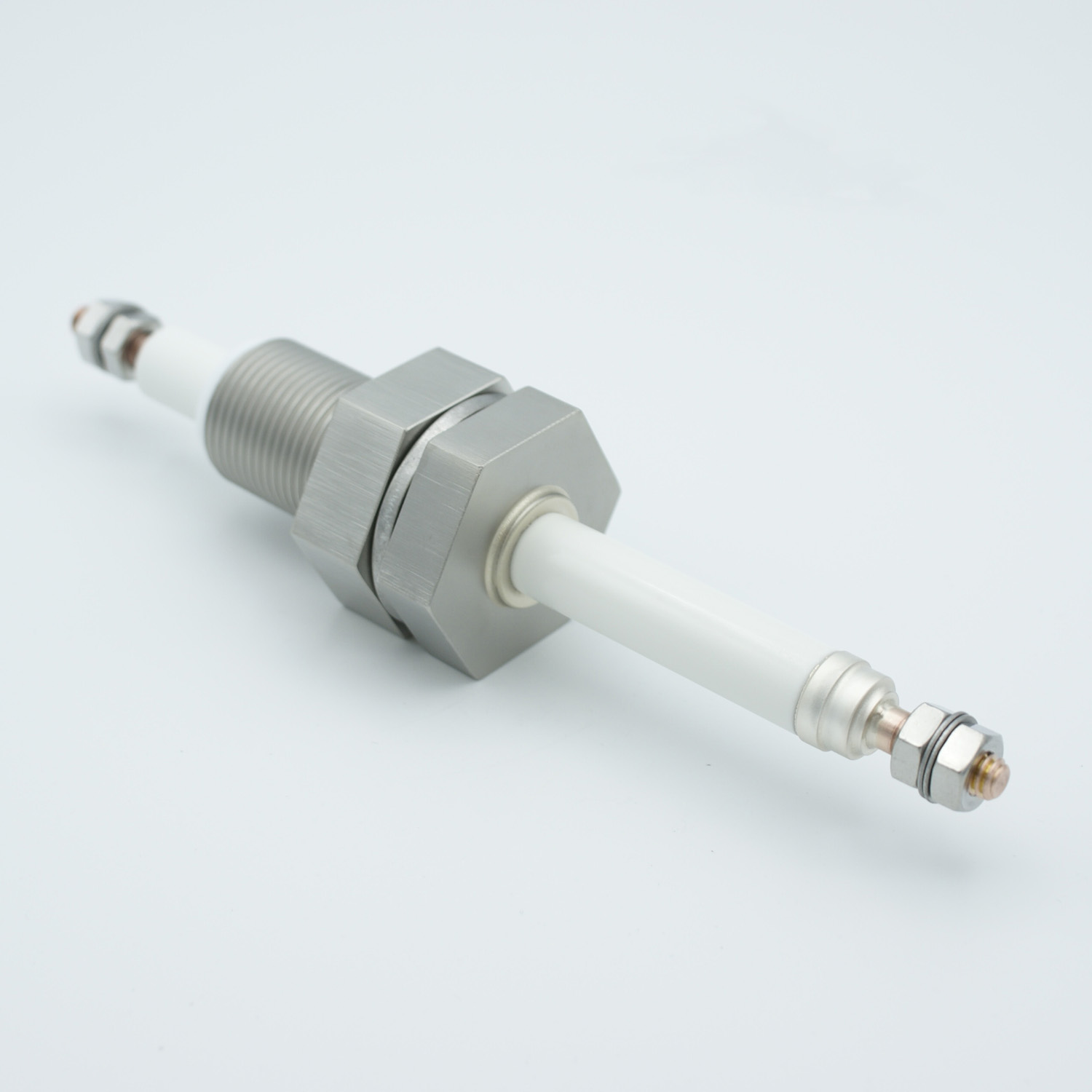 1 pin exposed high voltage feedthrough 12000V / 150 Amp. Copper conductor, 1 inch base plate fitting