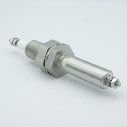 1 pin shielded high voltage feedthrough 12000V / 7 Amp. Stainless steel conductor, 1 inch base plate fitting